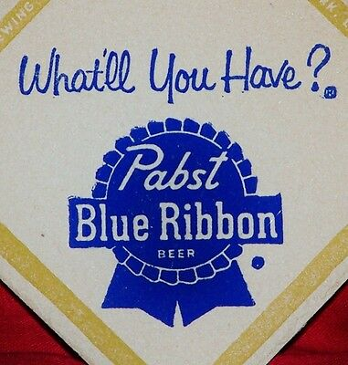 WOW SIX RARE VINTAGE NEW OLD STOCK PABST BLUE RIBBON BEER 1950's DRINK COASTERS