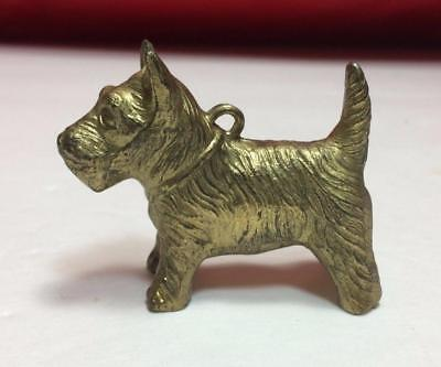 Antique 1950's Cast Iron Pot Metal SCOTTY TERRIER DOG Keychain/Ornament Figurine