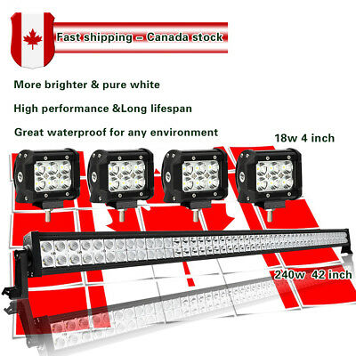 42Inch LED Light Bar Flood & Spot Combo + 4inch CREE Pods 4X4 Off road Ford SUV