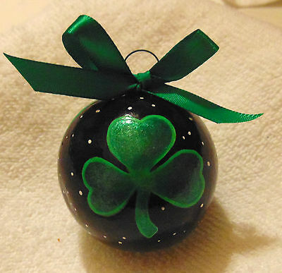 Cross Christmas Ornament Shamrock Hand Painted Irish Gourd Christian Made in USA