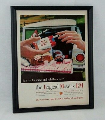 1964 L&M Cigarettes Man Cave Framed Vintage Photo Paper Ad Tobacco Cigs Cigars