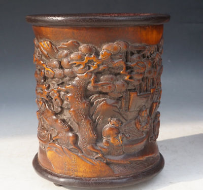 Chinese Exquisite Hand-carved character landscape carving bamboo Brush Pot
