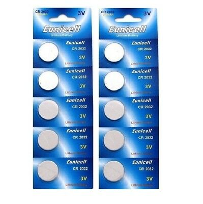 10 X Eunicell Cr2032,dl2032,,kl2032, Br2032 3 Volt Lithium Button/coin Batteries