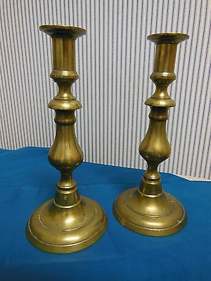 Pair Of Antique Victorian English Brass  Push-Up Candlesticks