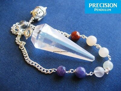 Clear Quartz Chakra Buddha Chain Faceted Crystal Gemstone Precision Pendulum