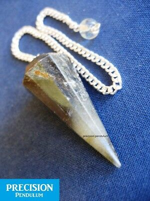 Solid Labradorite 12-Faceted Precision Pendulum with Chain Crystal Gemstone