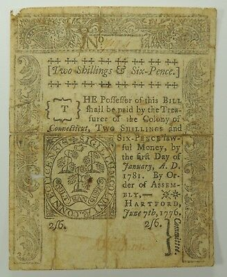 1776 Two Shillings & Six Pence Connecticut Colonial Currency   (Archival Tape)