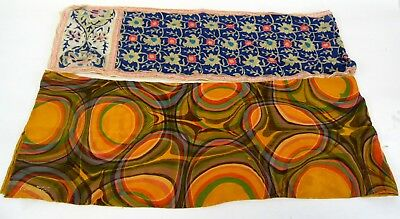 Vintage Pair Cosette Hand Marbled & Anne Klein Orange Navy JAPAN Pure Silk Scarf