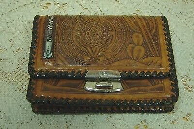Vintage Tooled Leather Wallet Coin Purse With Mirror Horse  Design Mexico