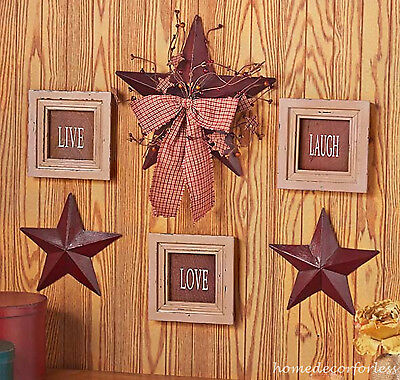 6 PC LIVE LAUGH LOVE Framed Signs & Country Stars Rustic Primitive Wall Decor