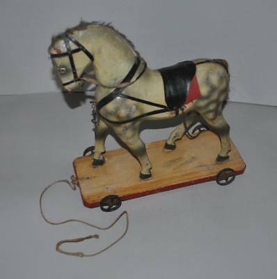 """Antique Wood 14"""" Pull Toy Horse On Wheel"""
