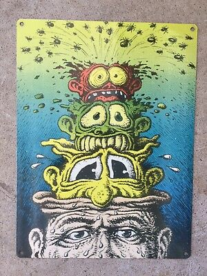 R. Robert Crumb Brain Melt Flip A Lid Out of Your Head Vintage Poster Metal Sign
