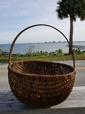 "Antique Vintage Primitive  Old Woven Fruit Bread Basket Wooden Handle 13"" tall"