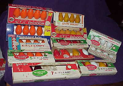 lot #3 - NEW C7 replacement Christmas Light Bulbs - orange white yellow colors
