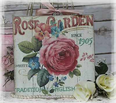 """""""Rose Garden"""" Shabby Chic Vintage Country Cottage style Wall Decor Sign"""