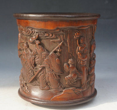 Chinese Exquisite Hand-carved mythology figure carving bamboo Brush Pot