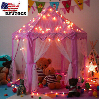 Pink Princess Castle Play House Girls Kids Fairy Tale Play Tent Netting Lights