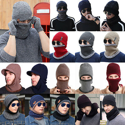 Winter Mens Women Warm Ski Beanie Cap Wool Knit Snow Hat Skull Scarf Balaclava