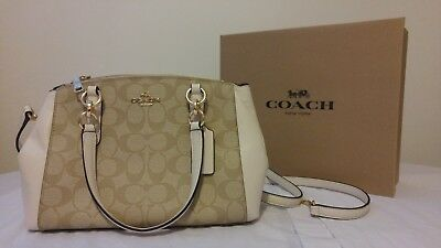 Coach Authentic Nwt Mini Christie Carryall Bag - Cream, White, And Brown