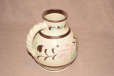 Grays Pottery Jug hand painted gloss floral design 18 cm high