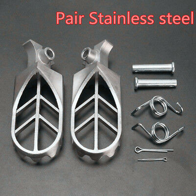 2Pcs Universal Silver Stainless Steel Front Foot Peg Footrest For Motorcycle ATV