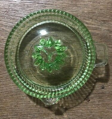 Antique Vintage Green Depression Glass Juicer