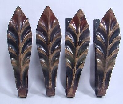 Set of Four Vintage Leaf Curtain Rod Holders