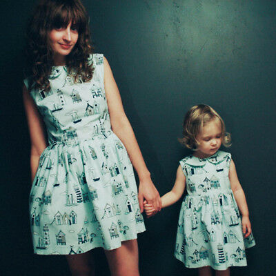 Family Clothes Lady's Mother Daughter Matching Summer Baby Girl Dress Outfit Set