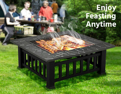 Outdoor Fire Pit With Cover Backyard Patio Garden Metal Brazier Square Stove US