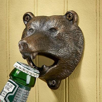 Bottle Opener Cast Iron Grizzly Bear of the Woods Black Wall Mounted Bar Kitchen