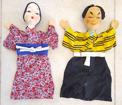 """Pair Japanese Hand Puppets Vintage Antique-Painted-Man/Woman-Silk Clothes-14"""""""