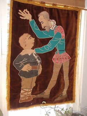 Antique Vintage Hand Crafted Tapestry 27 X 37 Inches Don Quixote & Sancho Panza