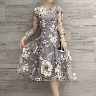 Women's Summer Chiffon Floral Long Sleeve Party Cocktail Maxi Long Dress