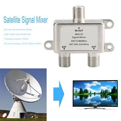 2 Ways Satellite Splitter TV Signal Cable TV Signal Mixer SAT/ANT Diplexer XJB