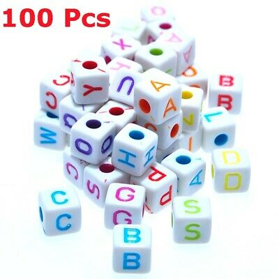 100pcs Cute Alphabet Sewing Cube Beads Letter White Acrylic Beads Mixed Color