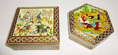Vintage Asian Oriental Wooden Lacquer Hand Painted Trinket Jewelry Bot Lot of 2