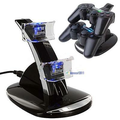LED Dual Controller Charger Dock Station Stand Charging for Playstation PS3 GA