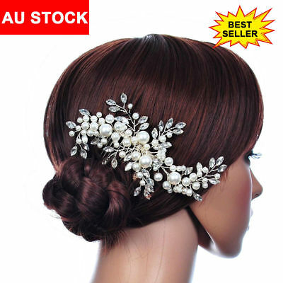 Wedding Bridal Hair Comb Crystal Pearl Headpiece Side Hair Pin Clip Accessory AU