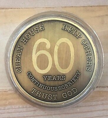 60 Year Bronze Alcoholics Anonymous Coin AA Medallion Bigger Design Free Shippin