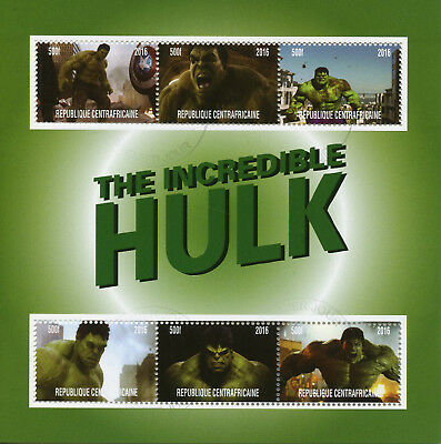 Central African Rep 2017 CTO The Incredible Hulk 6v M/S Superheroes Stamps