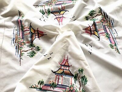 Vintage Hand Embroidered Off White Linen Chinese Pagoda Table cloth 47x49 Inches