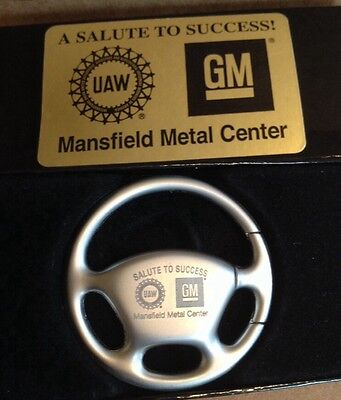 GM UAW Steering Wheel Keychain ~A SALUTE TO SUCCESS! Mansfield Metal Center~OHIO