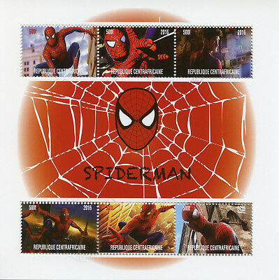 Central African Rep 2017 CTO Spiderman Peter Parker 6v M/S Superheroes Stamps