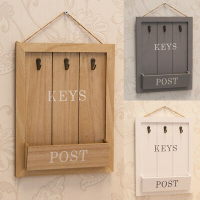 Vintage Rustic Hanging Key Hook Rack with Post Letter Holder Hallway Organiser