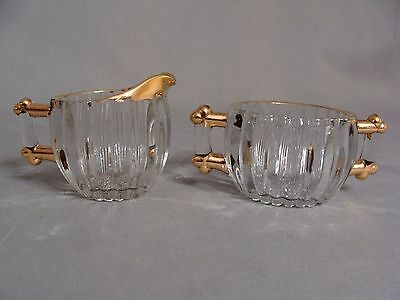 Jeannette Clear Glass Creamer & Sugar Bowl With Gold Trim & Hobnail Bottom