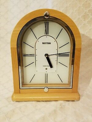 "RHYTHM Musical Wooden Mantel Clock PERFECT WORKING- P0901-0397 10.75"" TALL"