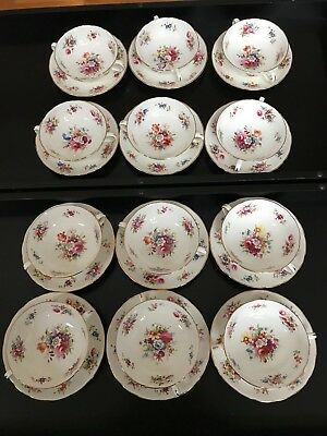 12 Vtg Hammersley Howard Minuet Footed Cream Soup Bowl/under Plate Sets