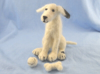 Needle felting Kit for Patch the Dog with his ball and bone collectible gift