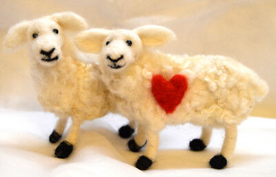 Needle felting Kit for 1 Sheep or 'I Love Ewe' Sheep with Red Heart gift love