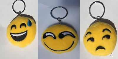 Emoji Padded Keyring Key Chain Bag Novelty Smiling Cheeky Grinning Sleepy Tongue